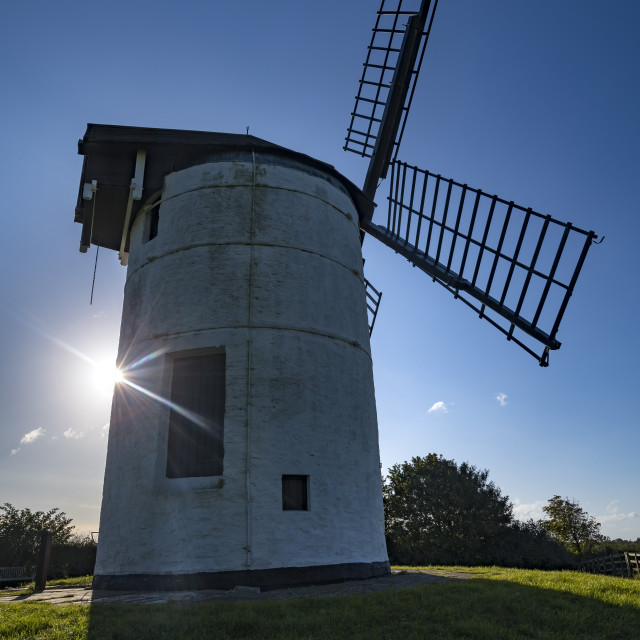 """""""English windmill in strong sunlight in Somerset"""" stock image"""