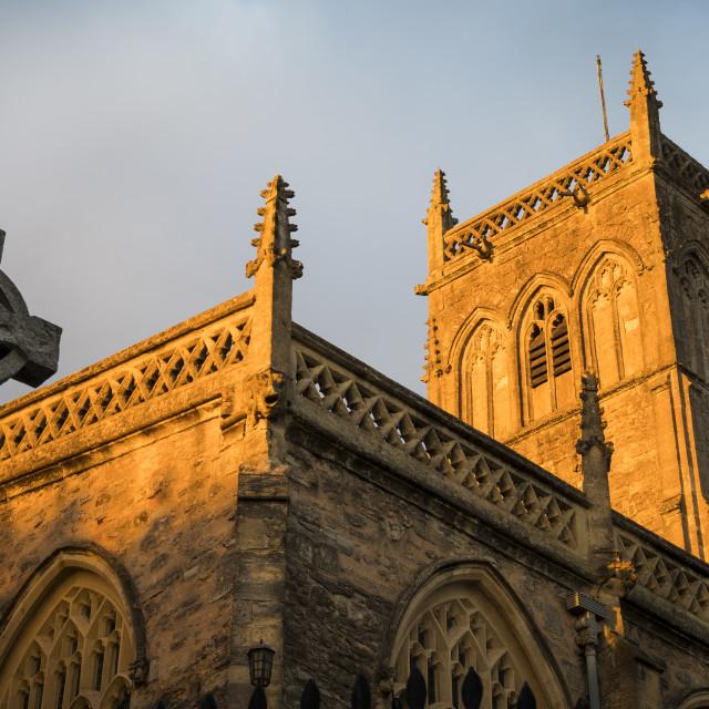 """Church in golden evening sunlight in Somerset"" stock image"