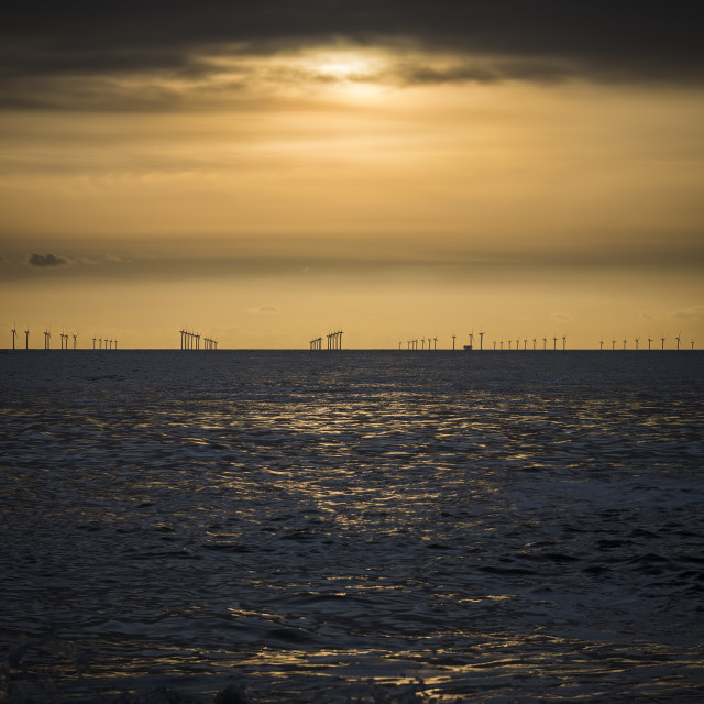 """""""Offshore wind farm across the water at dusk"""" stock image"""