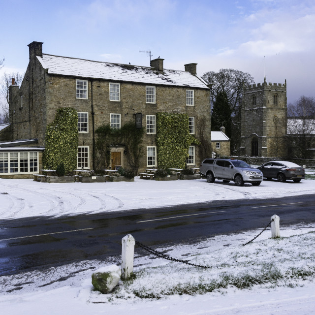 """""""The Rose and Crown, Romaldkirk"""" stock image"""