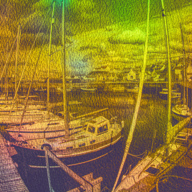 """""""Boats in The Harbour"""" stock image"""