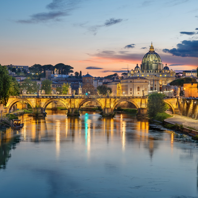 """""""Sunset over the Tiber river, Rome, Italy"""" stock image"""