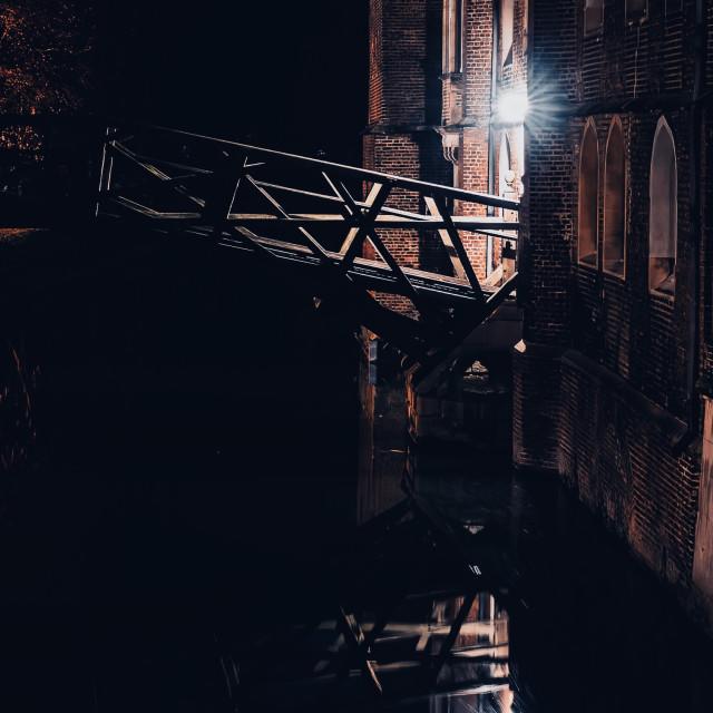 """Mathematical Bridge at night, Cambridge UK."" stock image"