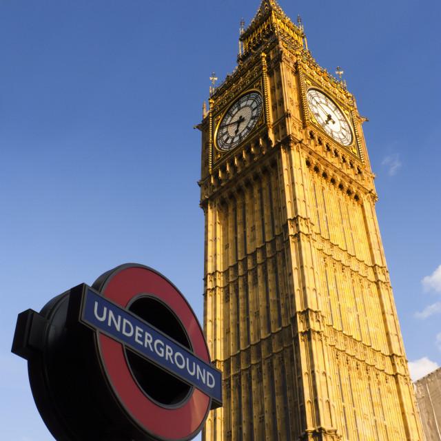 """Clock Tower (Big Ben) & London Underground"" stock image"