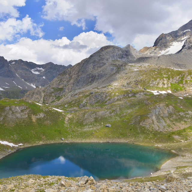 """""""beautiful scenic landscape in european alpine mountain with a turquoise water of a lake"""" stock image"""