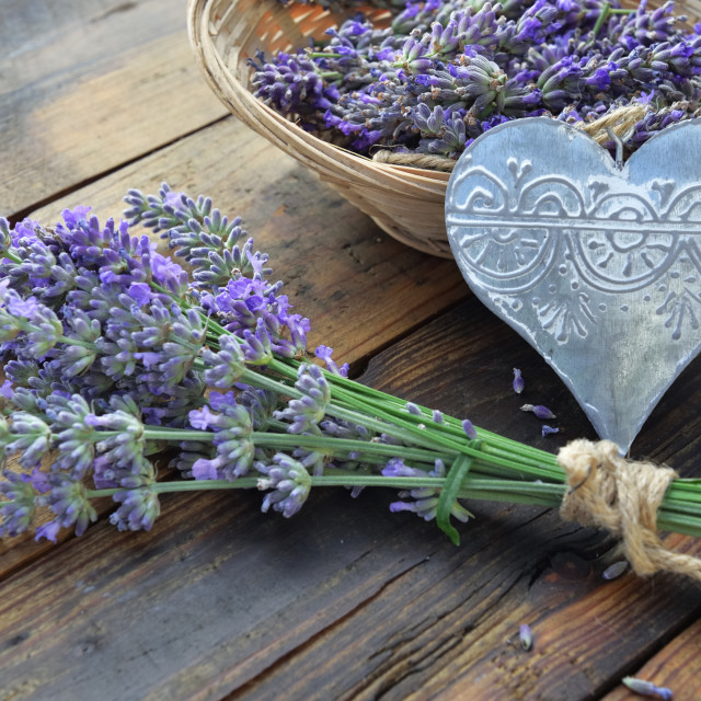 """""""decorative metal heart with a bouquet of lavender flowers on wooden table"""" stock image"""