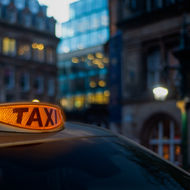 """Glowing London Taxi Light"" stock image"