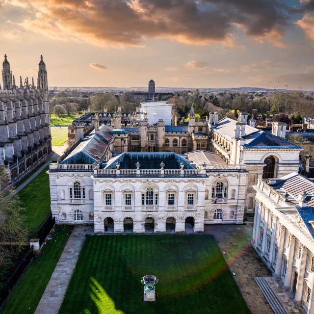 """""""Golden hour Sunset over The Old Schools, University of Cambridge"""" stock image"""