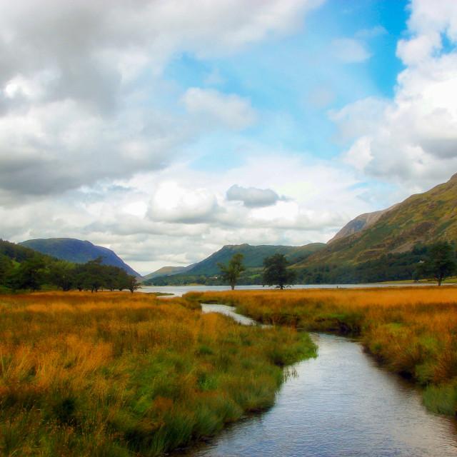 """Lake District Stream Landscape - Buttermere, Cumbria"" stock image"