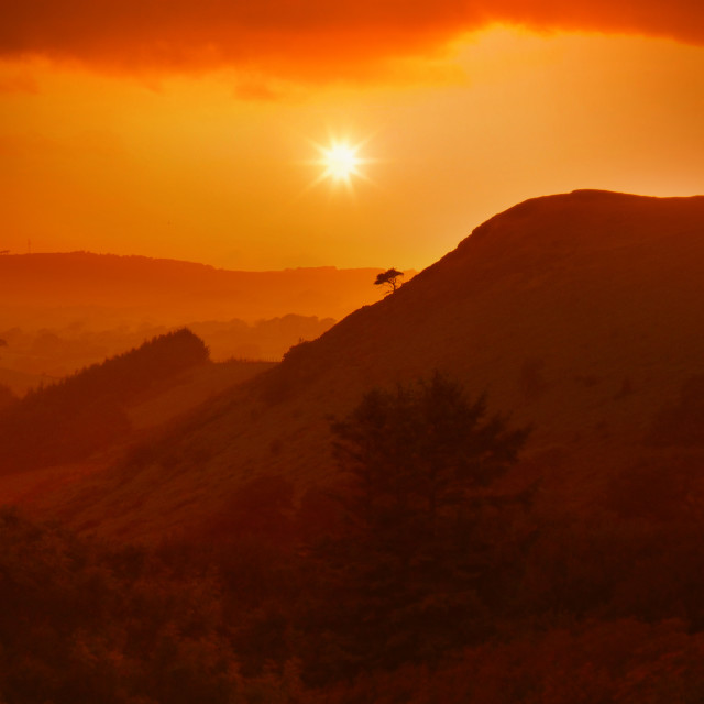 """Orange Sunset in the Lake District, England"" stock image"