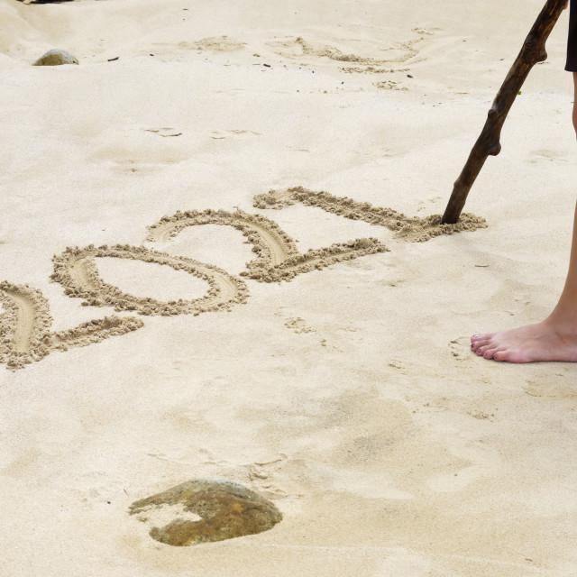 """Writing 2021 On Beach Sand"" stock image"