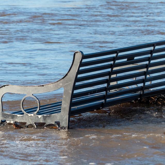 """Flooded Bench by The River Trent"" stock image"