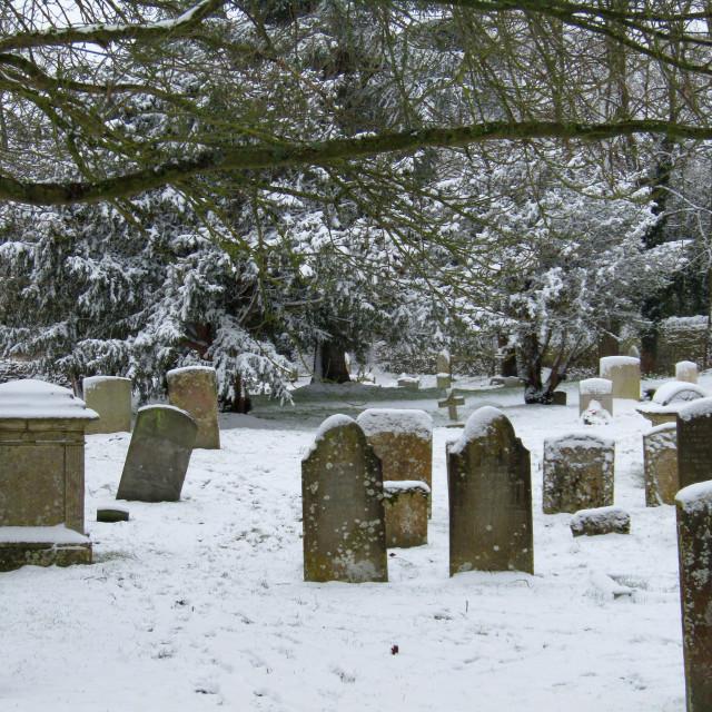 """""""Winter graveyard scene in snow"""" stock image"""