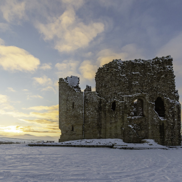 """""""Bowes Castle at sunset"""" stock image"""