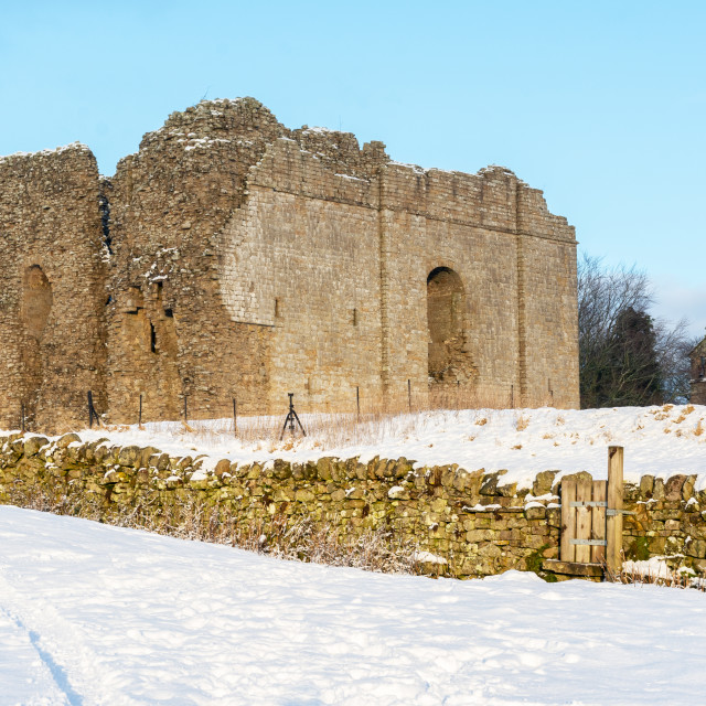 """""""Bowes Castle in winter"""" stock image"""
