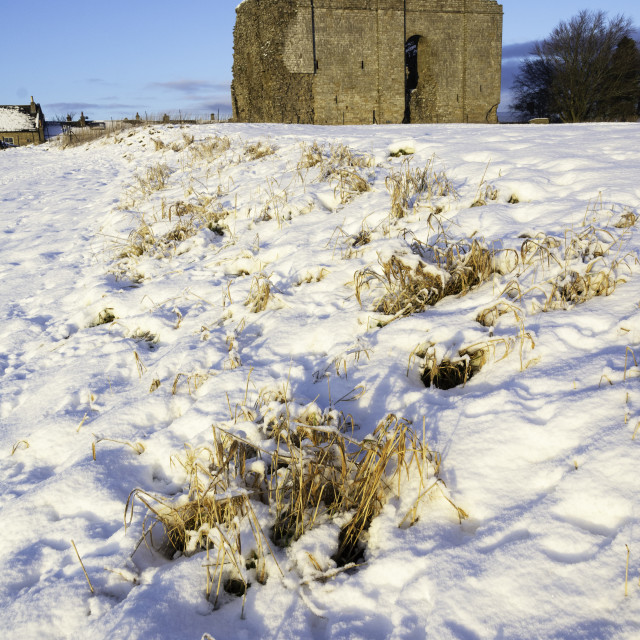 """""""Bowes Castle in snow, Teesdale"""" stock image"""