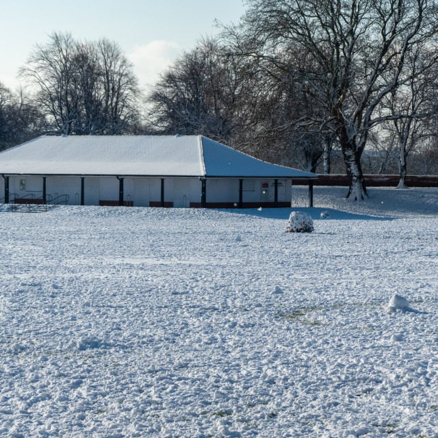 """""""Sport pavilion on a snowy day in Nottingham"""" stock image"""