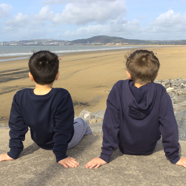 """""""Brothers at the beach"""" stock image"""