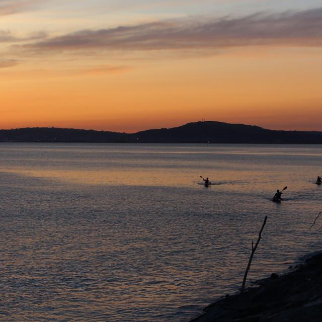 """""""Sunset Kayakers Aberavon"""" stock image"""
