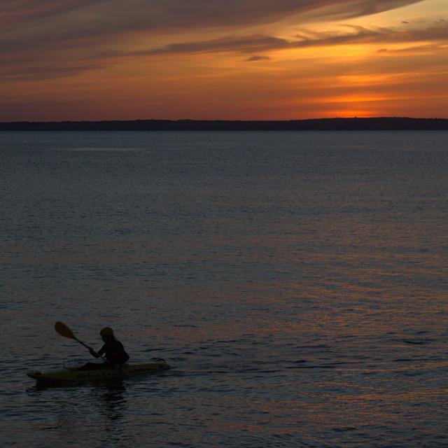 """""""Sunset Kayaker Aberavon"""" stock image"""