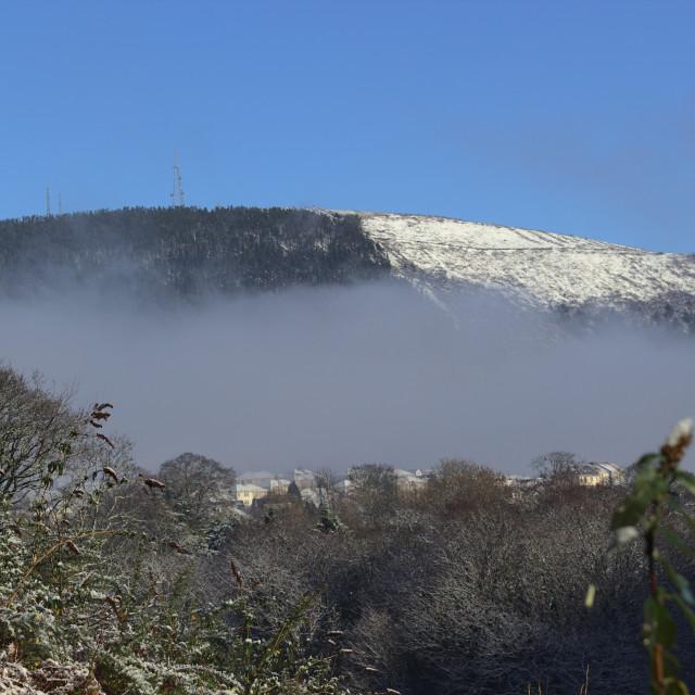 """""""Mynydd y Foel and Cwmavon in Snow"""" stock image"""