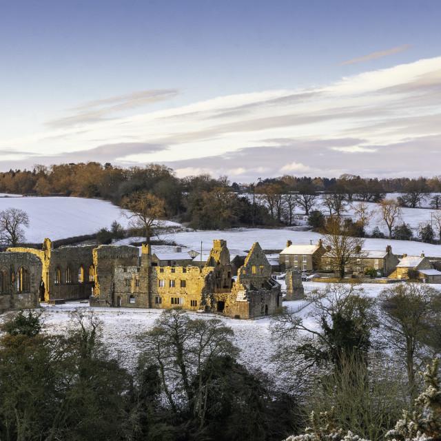 """""""Winter sunrise at Egglestone Abbey"""" stock image"""