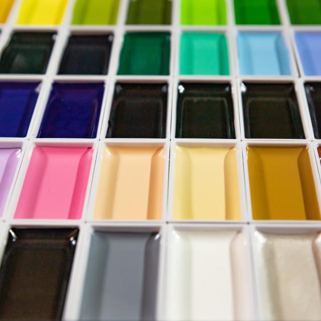 """Watercolor case unused"" stock image"