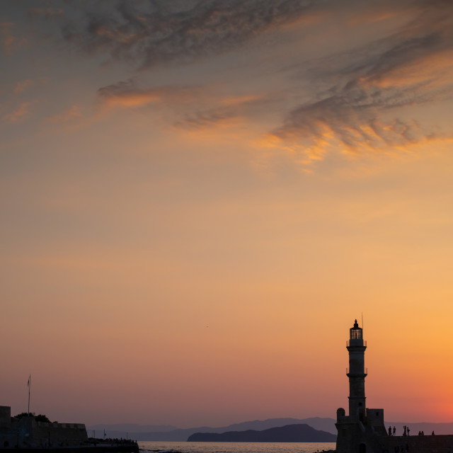 """""""Entrance to Chania Harbour"""" stock image"""