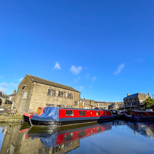 """""""Holiday Boat, Barge on the Leeds and Liverpool Canal at Silsden (Cobbydale) Yorkshire, England,"""" stock image"""