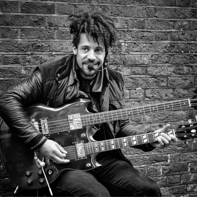 """Street Musician, Brick Lane London"" stock image"