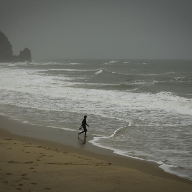 """Man vs Sea"" stock image"