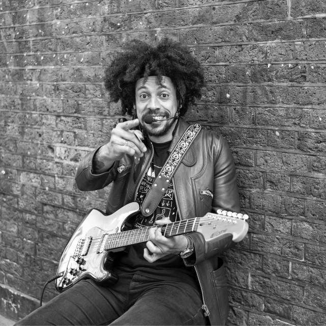 """""""Brick Lane Regular Street Musician"""" stock image"""