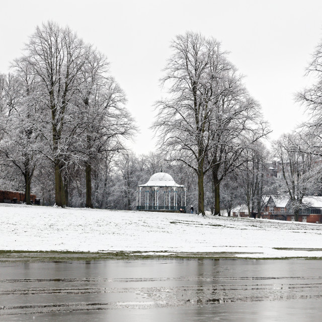 """""""The Bandstand in Winter"""" stock image"""