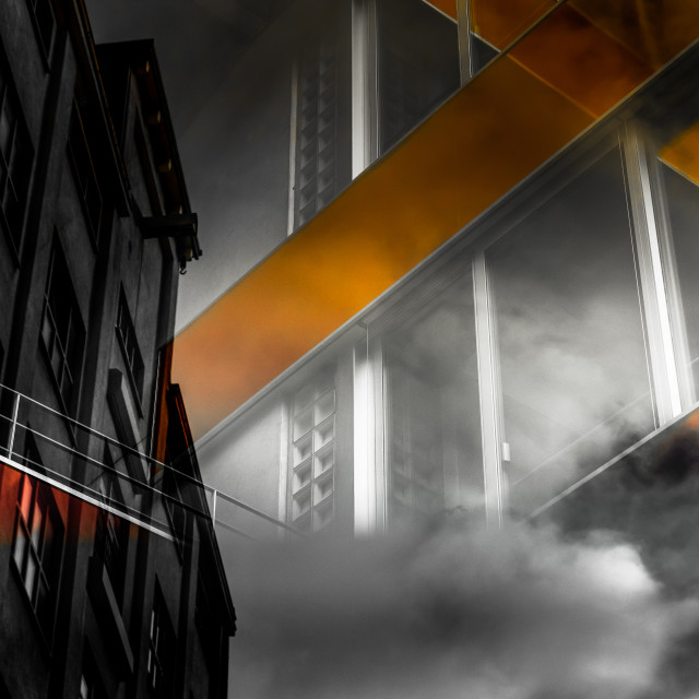 """""""""""Symbiosis II"""" - Reflections of city buildings on glass"""" stock image"""