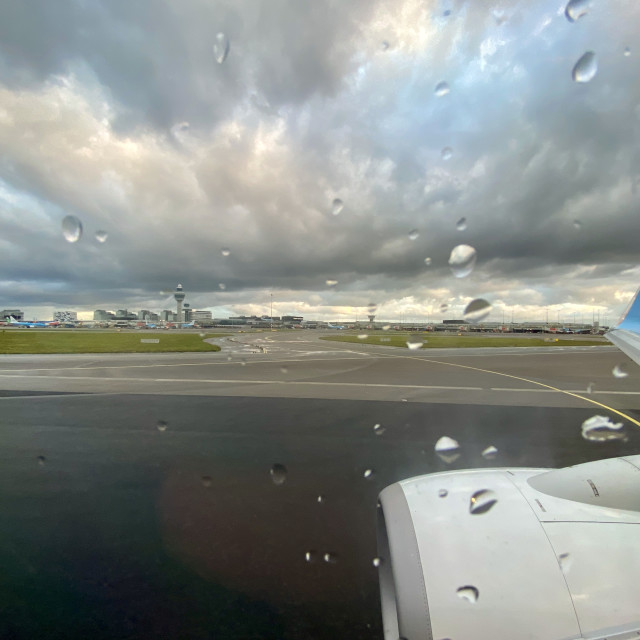 """""""Ready for takeoff at the airport on a bad weather rainy day."""" stock image"""
