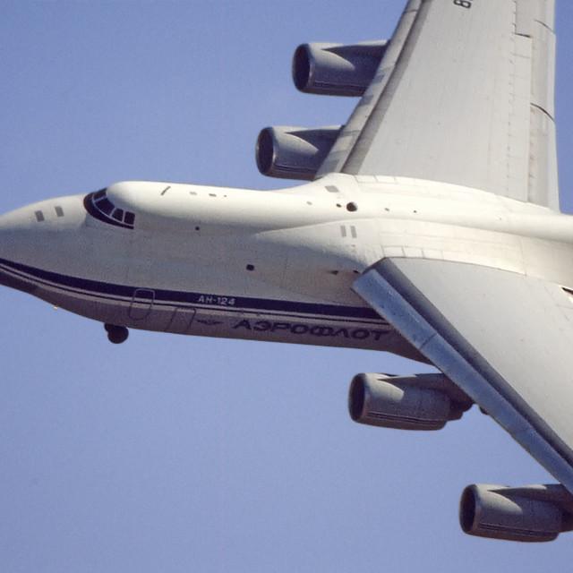 """Antonov AN-124 in flight"" stock image"