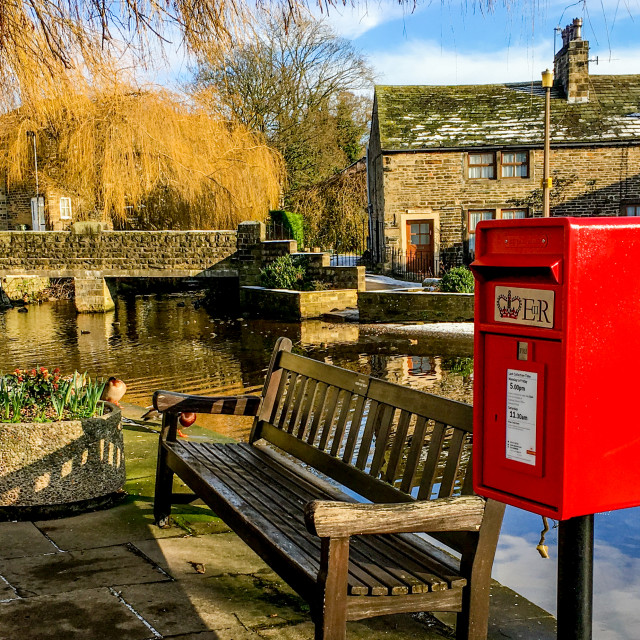 """""""Red Post box next to The Beck, Silsden (Cobbydale)"""" stock image"""