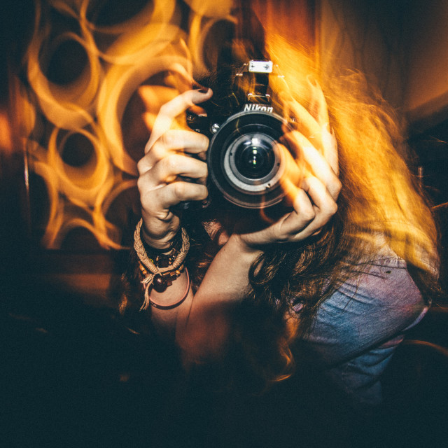 """""""Girl with Camera"""" stock image"""