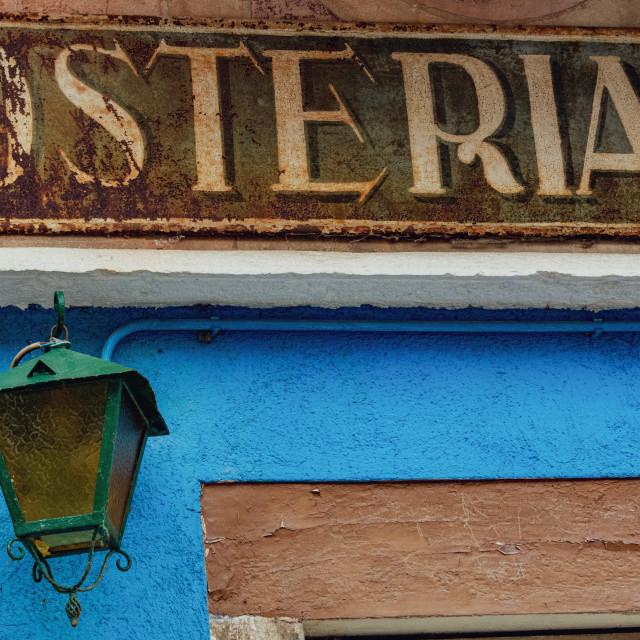 """Burano Old Restaurant Signage"" stock image"