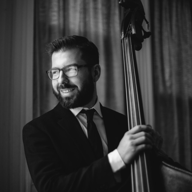 """""""Bass Player in Black and White"""" stock image"""