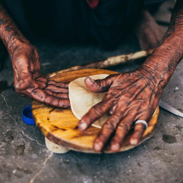 """""""Making Chapati/Roti. Indian Bread"""" stock image"""