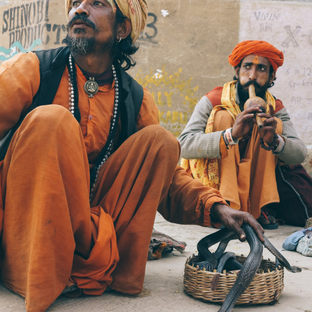 """""""Indian Snake Charmers"""" stock image"""