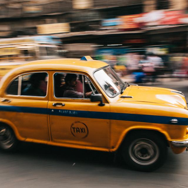 """Yellow Taxi Cab in Calcutta"" stock image"