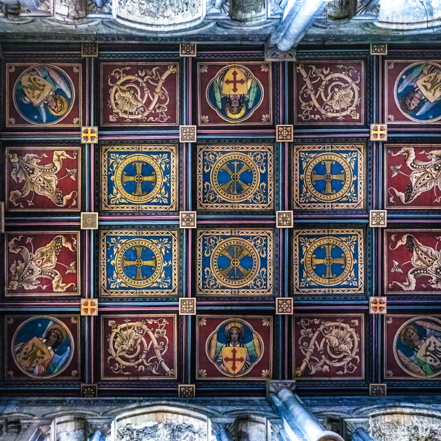 """""""Ely Cathedral ceiling, South West Transept."""" stock image"""