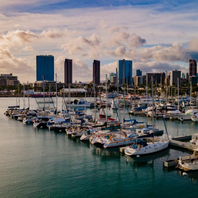 """""""Honolulu Harbor Sunset"""" stock image"""