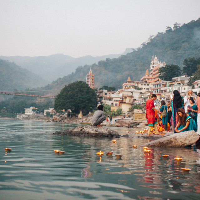 """""""Candles in the Ganges"""" stock image"""