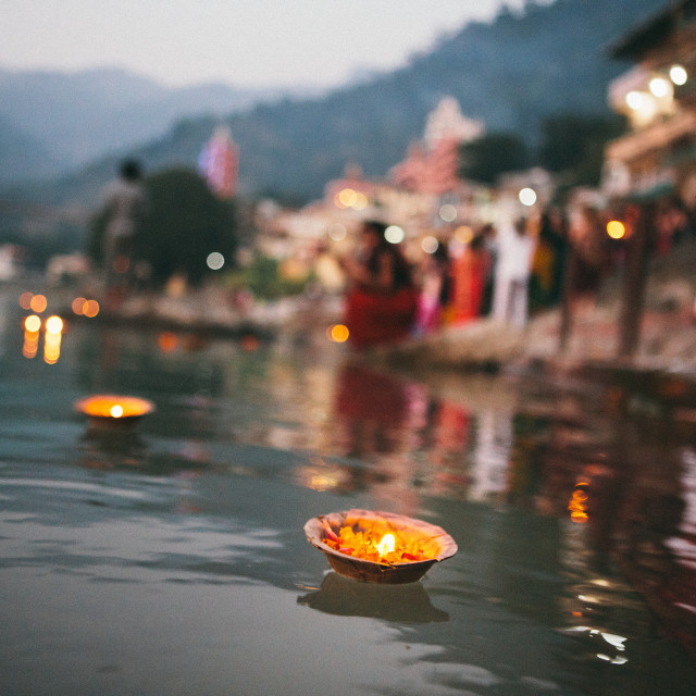 """""""Candles in the Ganges 2"""" stock image"""