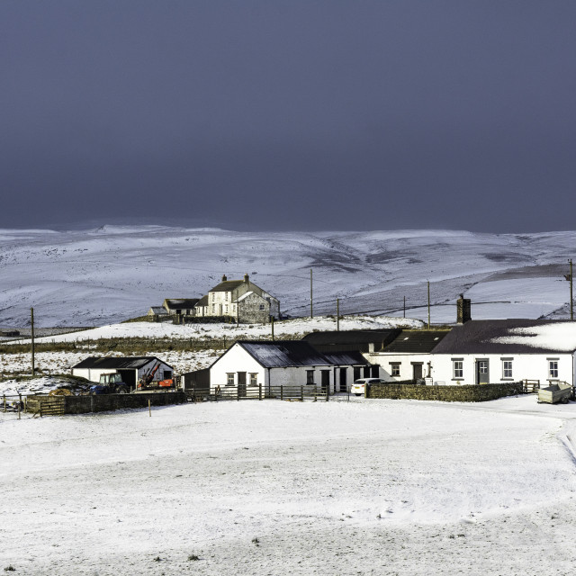 """""""Snow on the way, Upper Teesdale"""" stock image"""