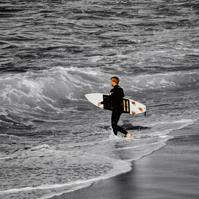 """""""Surfer heading out"""" stock image"""