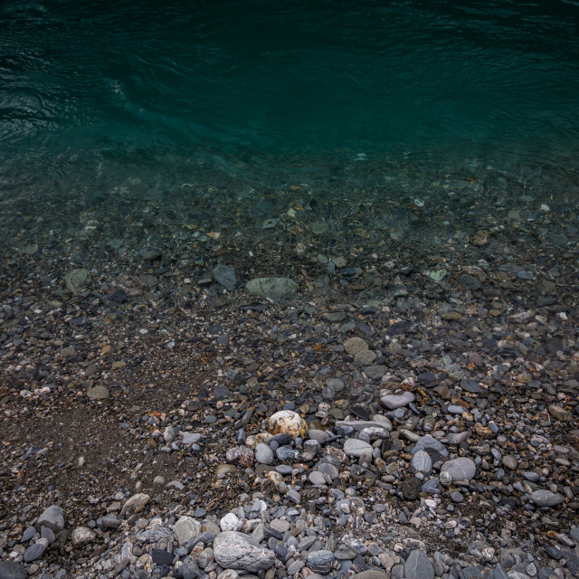 """""""Haast River clear water with river stones"""" stock image"""